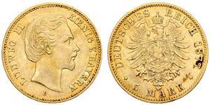 5 Mark Königreich Bayern (1806 - 1918) Gold Ludwig II. (Bayern)(1845 – 1886)