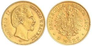 5 Mark Kingdom of Bavaria (1806 - 1918) Gold Ludwig II of Bavaria (1845 – 1886)