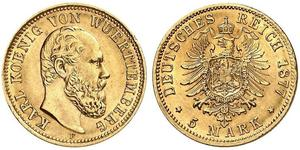 5 Mark Kingdom of Württemberg (1806-1918) Gold Charles I of Württemberg