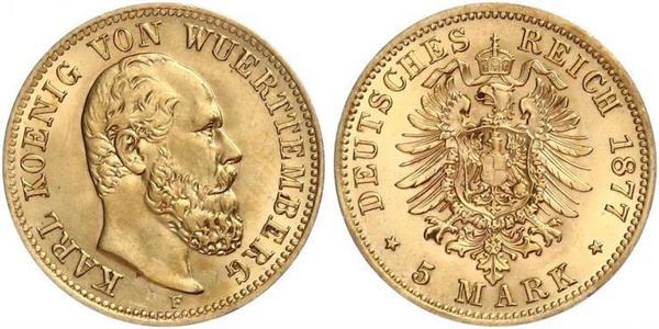 5 Mark Kingdom of Württemberg (1806-1918) Gold Charles I of Württemberg