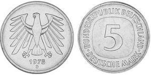5 Mark Alemania Occidental (1949-1990) Níquel/Cobre
