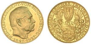 5 Mark République de Weimar (1918-1933) Or Paul von Hindenburg