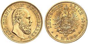5 Mark Royaume de Wurtemberg (1806-1918) Or Charles Ier de Wurtemberg
