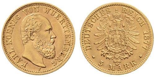 5 Mark Regno di Württemberg (1806-1918) Oro Carlo di Württemberg