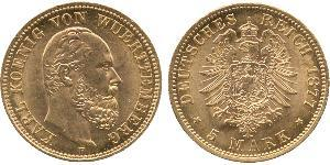 5 Mark Reino de Wurtemberg (1806-1918) Oro Carlos I de Wurtemberg