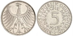 5 Mark Alemania Occidental (1949-1990) Plata