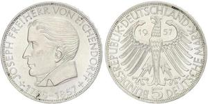 5 Mark Alemania Occidental (1949-1990) Plata Joseph von Eichendorff