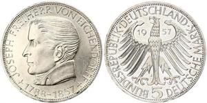 5 Mark Alemania Occidental (1949-1990) Plata Joseph von Eichendorff