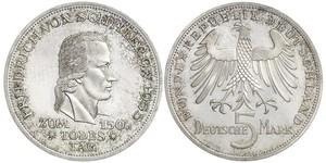 5 Mark Alemania Occidental (1949-1990) Plata Friedrich Schiller