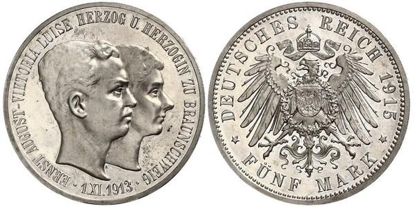 5 Mark Ducado de Brunswick (1815 - 1918) Plata Ernesto Augusto III de Hannover (1887 - 1953)