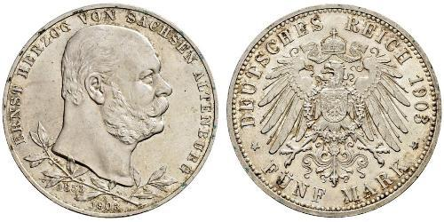 5 Mark Ducado de Sajonia-Altenburgo  (1826 - 1920) Plata Ernesto I de Sajonia-Altenburgo (1826 - 1908)