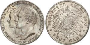 5 Mark Ducado de Sajonia-Weimar-Eisenach (1809 - 1918) Plata Guillermo Ernesto de Sajonia-Weimar-Eisenach