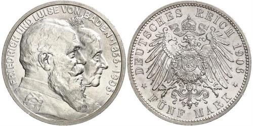 5 Mark Gran Ducado de Baden (1806-1918) / Imperio alemán (1871-1918) Plata Federico I de Baden (1826 - 1907)