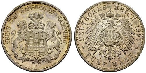 5 Mark Hamburgo / Imperio alemán (1871-1918) Plata