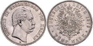 5 Mark Hesse-Darmstadt (1806 - 1918) Plata Luis III de Hesse-Darmstadt