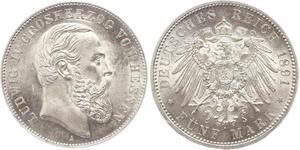 5 Mark Hesse-Darmstadt (1806 - 1918) Plata Luis IV de Hesse-Darmstadt