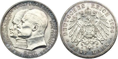 5 Mark Hesse-Darmstadt (1806 - 1918) Plata Ernesto Luis de Hesse-Darmstadt (1868 - 1937)