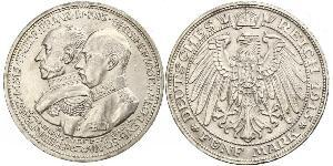 5 Mark Mecklemburgo-Schwerin (1352-1918) Plata Frederick Francis IV, Grand Duke of Mecklenburg (1882 - 1945)