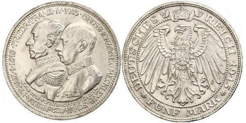 5 Mark Mecklemburgo-Schwerin (1352-1918) Plata Frederick Francis IV, Grand Duke of Mecklenburg (1882 - 1945)