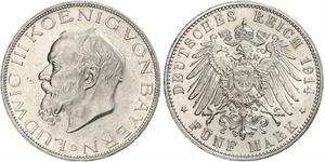 5 Mark Reino de Baviera (1806 - 1918) Plata Luis III de Baviera (1845 – 1921)