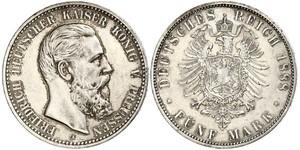 5 Mark Reino de Prusia (1701-1918) Plata Federico III de Alemania (1831-1888)