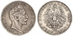 5 Mark Reino de Prusia (1701-1918) Plata Wilhelm II, German Emperor (1859-1941)
