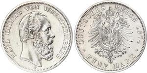 5 Mark Reino de Wurtemberg (1806-1918) Plata Carlos I de Wurtemberg