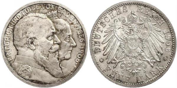 5 Mark Deutsches Kaiserreich (1871-1918) / Grand Duchy of Baden (1806-1918) Silber Friedrich I. (Baden, Großherzog) (1826 - 1907)