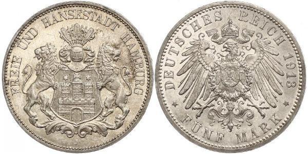 5 Mark Deutsches Kaiserreich (1871-1918) / Hamburg Silber