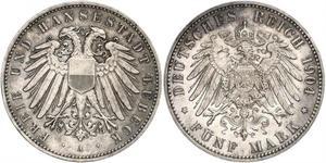 5 Mark Free City of Lübeck Silber