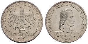 5 Mark Geschichte der Bundesrepublik Deutschland (1949-1990) Silber Friedrich Schiller