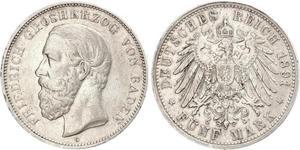 5 Mark Grand Duchy of Baden (1806-1918) Silber Friedrich I. (Baden, Großherzog) (1826 - 1907)