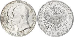 5 Mark Großherzogtum Hessen (1806 - 1918) Silber Ernst Ludwig (Hessen-Darmstadt, Großherzog) (1868 - 1937)