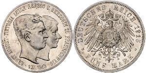 5 Mark Herzogtum Braunschweig (1815 - 1918) Silber Ernst August (Braunschweig) (1887 - 1953)