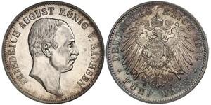 5 Mark Königreich Sachsen (1806 - 1918) Silber Friedrich August III. (Sachsen) (1865-1932)