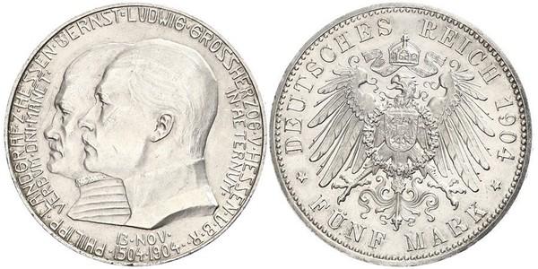 5 Mark Landgrafschaft Hessen-Kassel (1567 - 1806) Silber Ernst Ludwig (Hessen-Darmstadt, Großherzog)