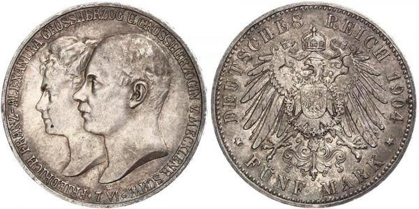 5 Mark Mecklenburg-Schwerin (1352-1918) Silber Frederick Francis IV, Grand Duke of Mecklenburg (1882 - 1945)