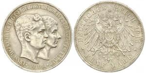 5 Mark Duchy of Brunswick (1815 - 1918) Silver Ernest Augustus, Duke of Brunswick (1887 - 1953)