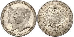 5 Mark Duchy of Mecklenburg-Schwerin (1352-1918) Silver Frederick Francis IV, Grand Duke of Mecklenburg (1882 - 1945)