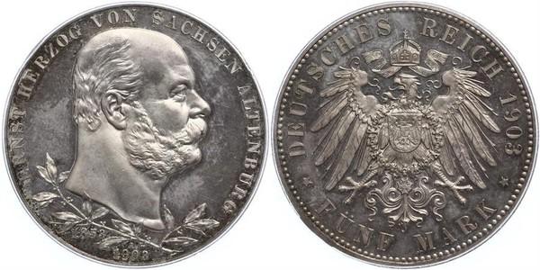 5 Mark Duchy of Saxe-Altenburg (1826 - 1920) Silver Ernst I, Duke of Saxe-Altenburg (1826 - 1908)