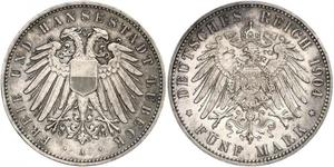 5 Mark Free City of Lübeck Silver