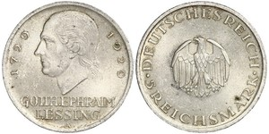 5 Mark German Empire (1871-1918) Silver Gotthold Ephraim Lessing