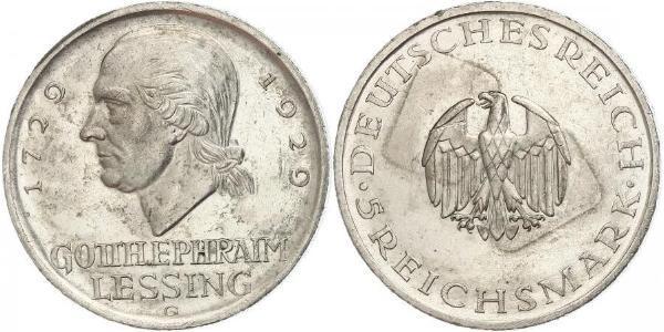 5 Mark German Empire (1871-1918) Silver Gotthold Ephraim Lessing