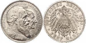 5 Mark German Empire (1871-1918) / Grand Duchy of Baden (1806-1918) Silver Frederick I, Grand Duke of Baden (1826 - 1907)
