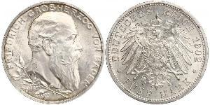 5 Mark German Empire (1871-1918) / Grand Duchy of Baden (1806-1918) Silver Frederick I, Grand Duke of Baden (1826 - 1907)