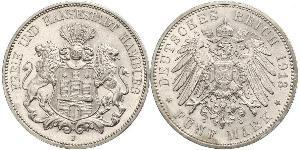 5 Mark German Empire (1871-1918) / Hamburg Silver