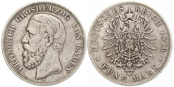 5 Mark Grand Duchy of Baden (1806-1918) Silver Frederick I, Grand Duke of Baden (1826 - 1907)