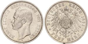 5 Mark Grand Duchy of Hesse (1806 - 1918) Silver Ernest Louis, Grand Duke of Hesse (1868 - 1937)