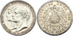 5 Mark Grand Duchy of Saxe-Weimar-Eisenach (1809 - 1918) Silver William Ernest, Grand Duke of Saxe-Weimar-Eisenach