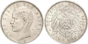 5 Mark Kingdom of Bavaria (1806 - 1918) Silver Otto of Bavaria (1848 – 1916)